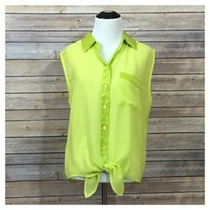Equipment Diem Tie Front Blouse - Lime - Small